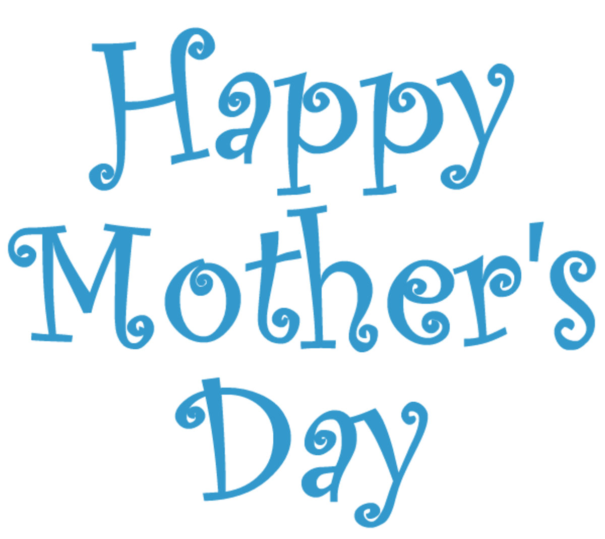 Happy Mother's Day clip art -- turquoise