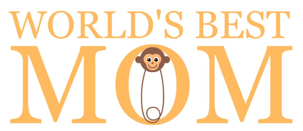 free World's Best Mom -- monkey diaper pin