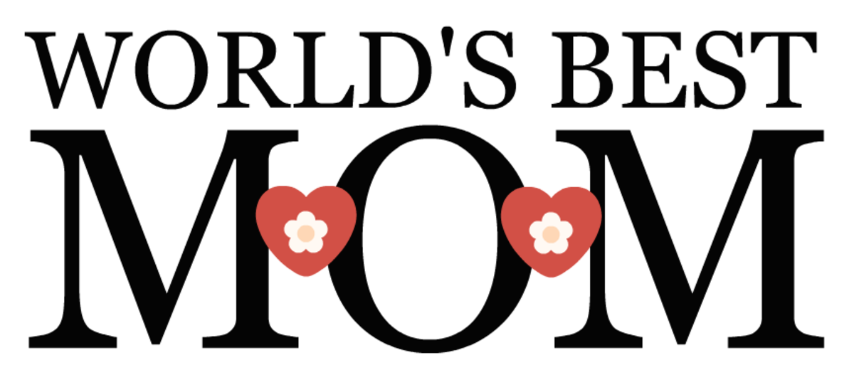 free World's Best Mom -- black with hearts and flowers