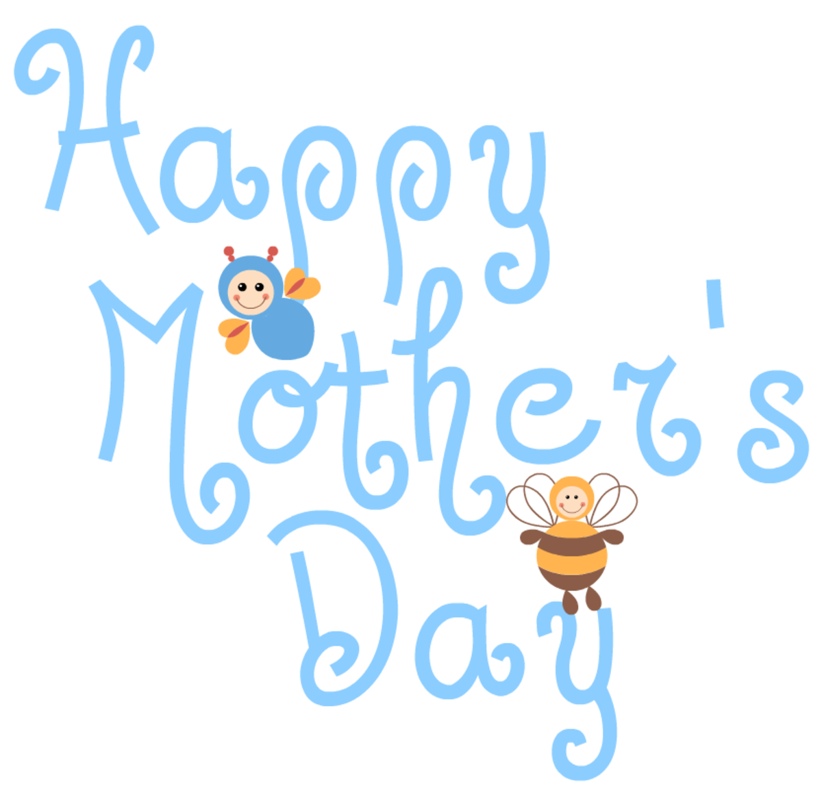 Happy Mother's Day clip art -- busy bees -- blue