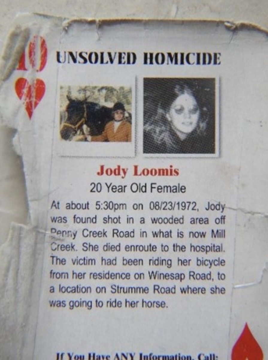 Playing cards featuring details of the murder of Jody Loomis in Snohomish County, Washington in 1972. Photo courtesy of the Mill Creek Beacon.