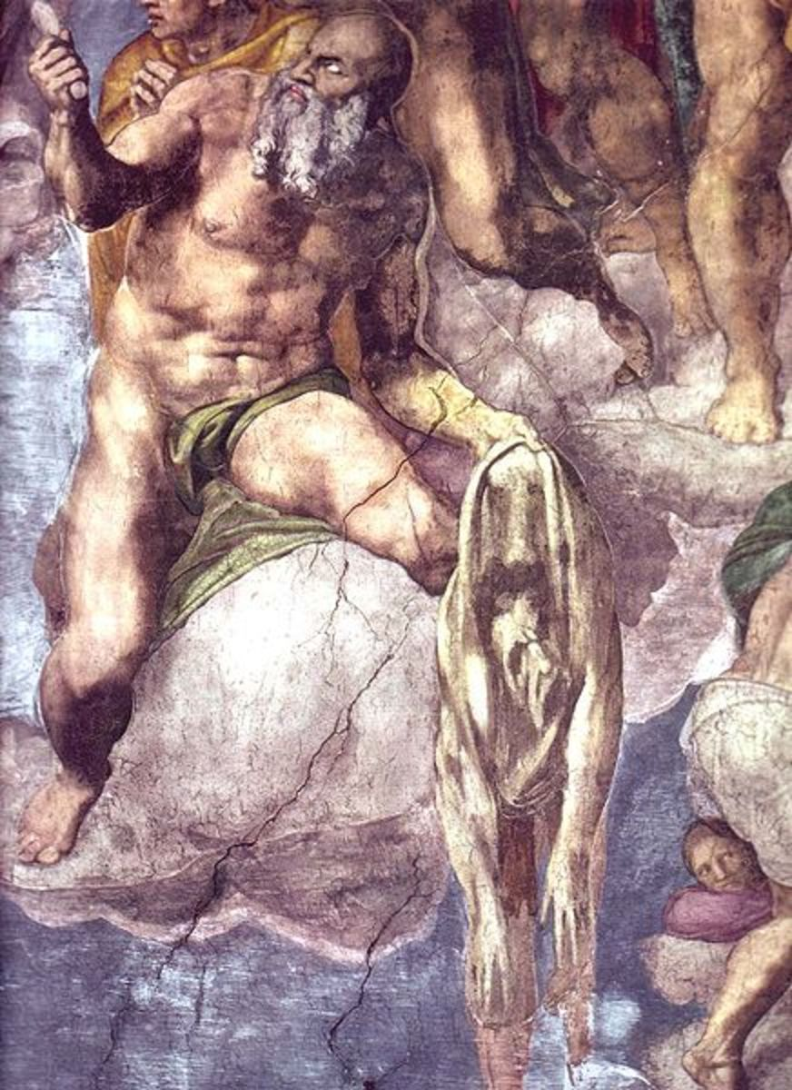 """""""St. Bartholomew displaying his flayed skin"""" from Michelangelo's """"The Last Judgment"""" (1535-1541) in the Sistine Chapel - Vatican"""