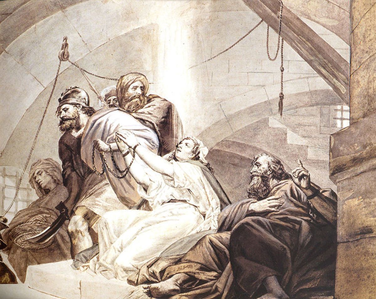 St. Simon, St. Thaddeus, St. Sandukht and other Christians in Sanatruk's prison by Fusaro (19th c.) - Armenian History of Italian Art