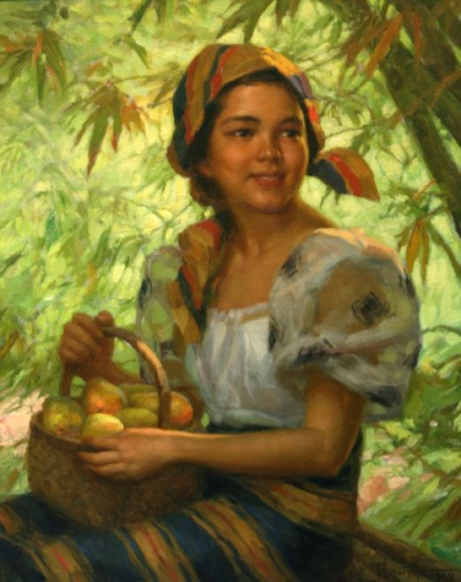 Woman with a basket of mangoes by Fernando Amorsolo