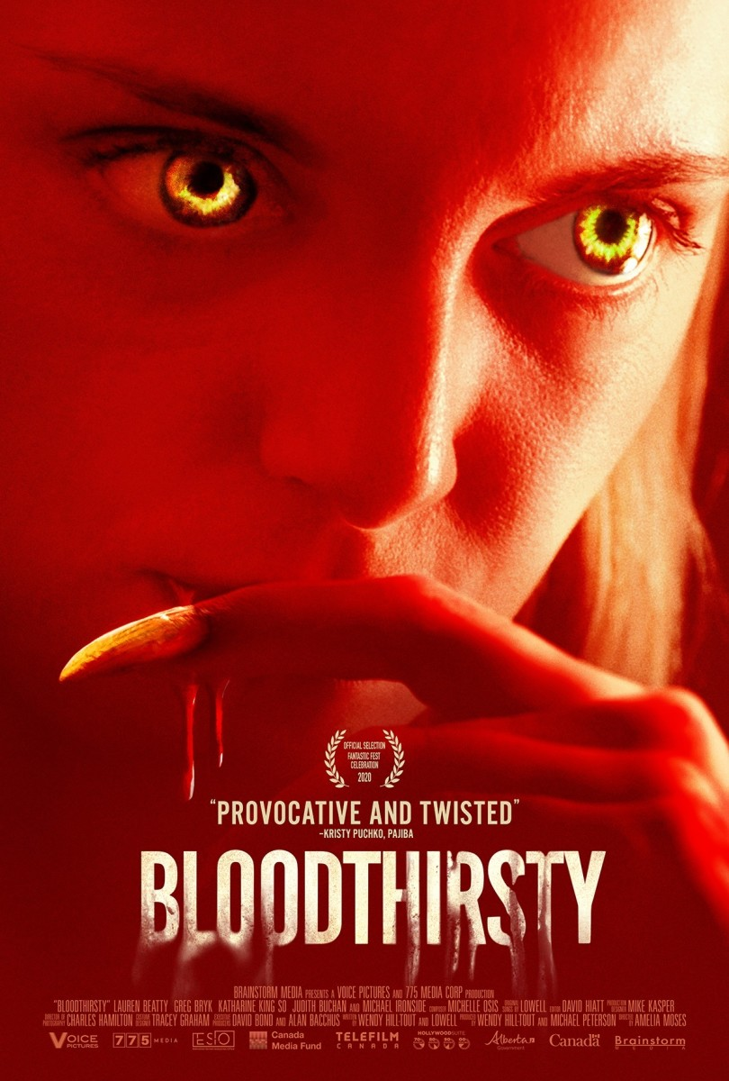 """The official poster for """"Bloodthirsty."""""""