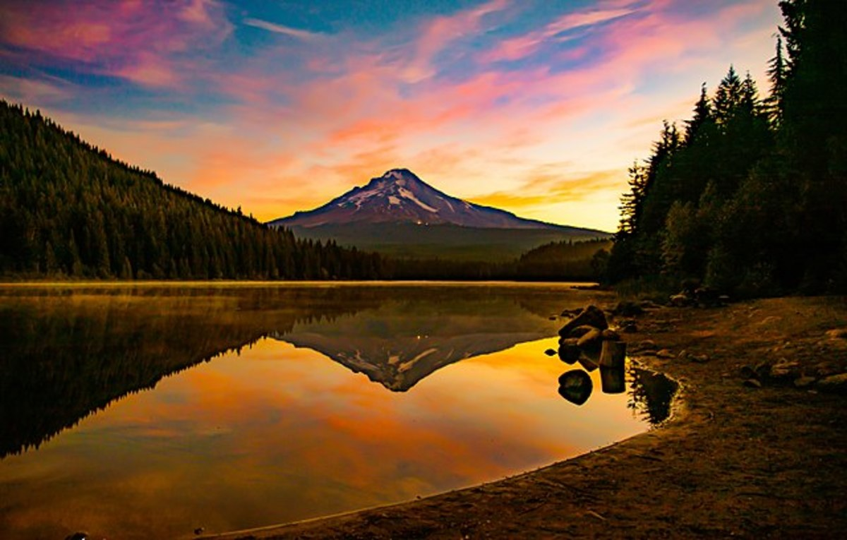 Early morning sunrise on Trillium Lake with the reflections of Mt. Hood, the trees, and the colorful clouds