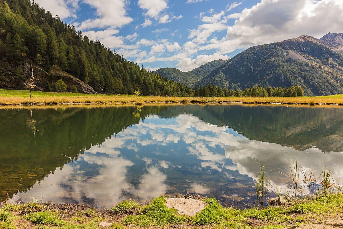 Walkway of Peio Paese to Lago Covel, 1,839 m in the Stelvio National Park (Italy)