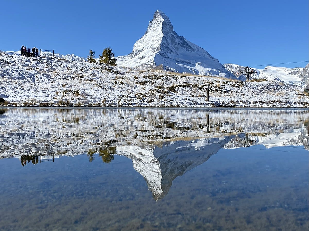 Matterhorn and its reflection seen on the Leisee