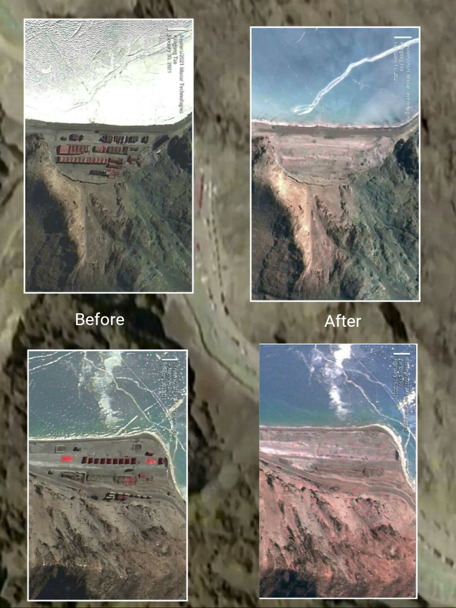 Satellite imagery of the Chinese structures removed from the Pangong Tso