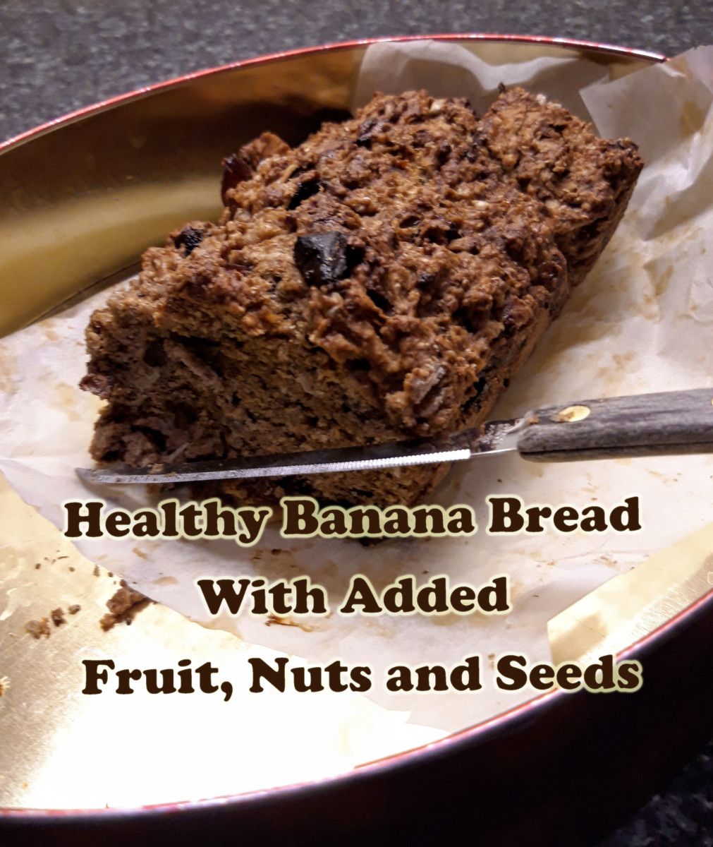Healthy Banana Bread With Fruit, Nuts and Seeds (Diabetic Friendly)