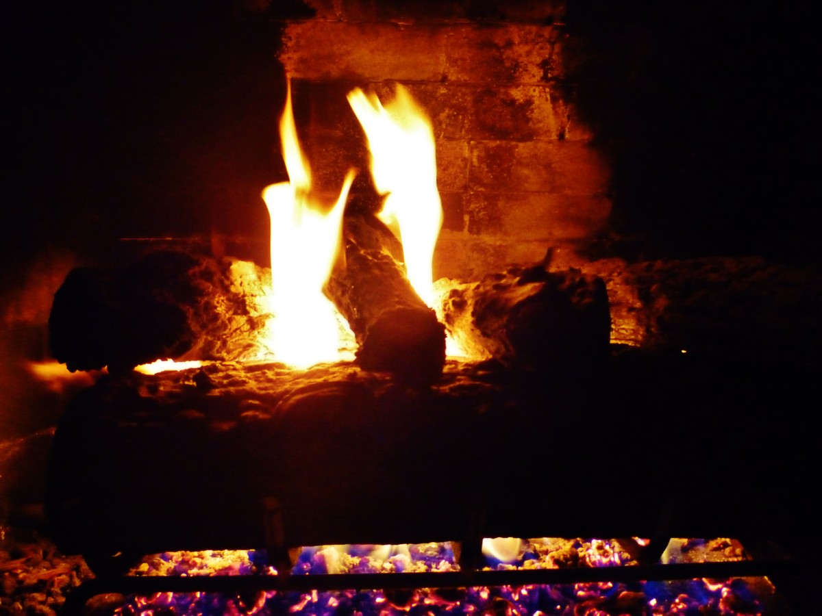 Crackling fire in the fireplace
