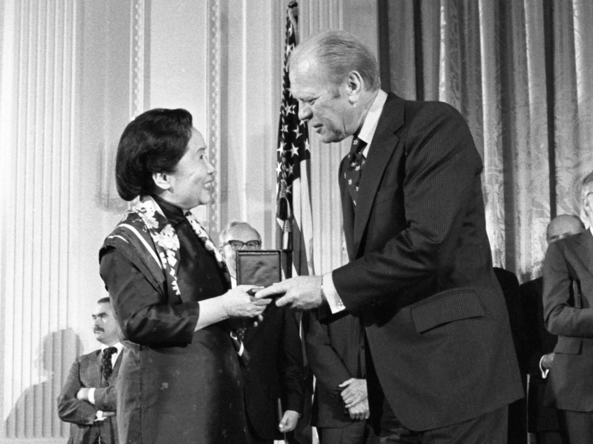 President Gerald Ford presenting the 1975 National Medal of Science to Dr. Wu in the East Room at the White House on October 18, 1976