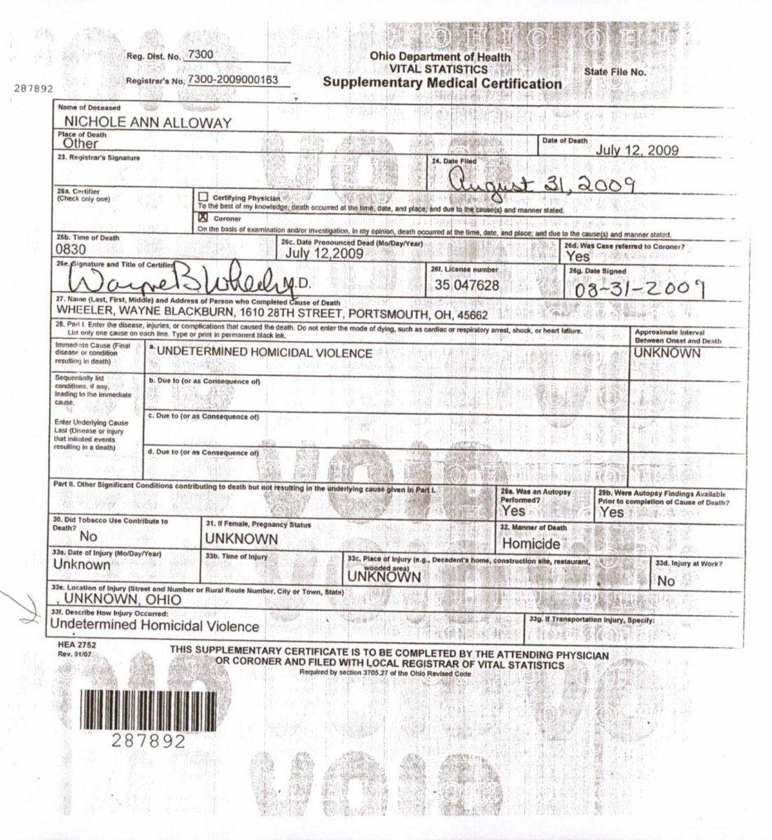 Final Death Certificate, Nichole Alloway