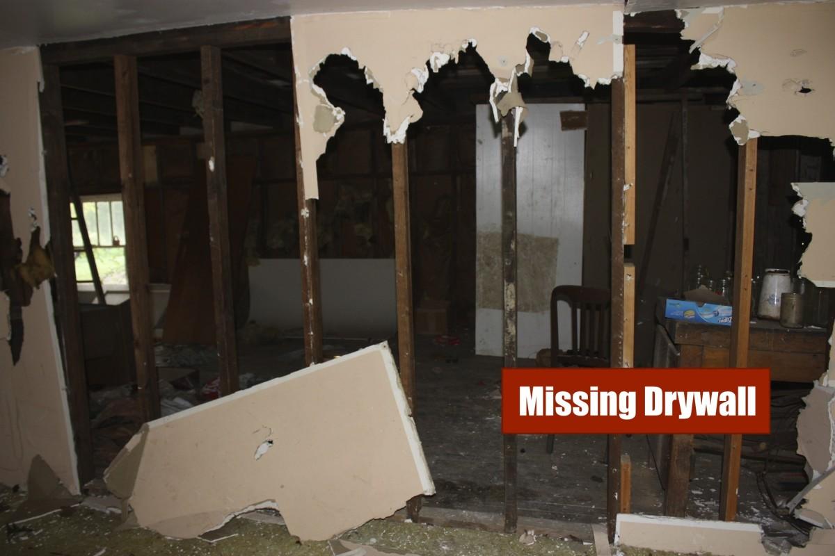 Missing drywall in barn.