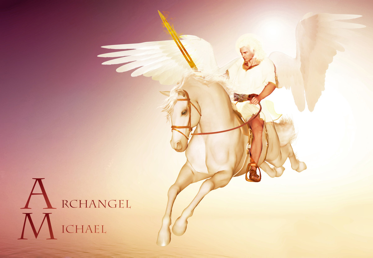 Archangel Michael is the law kipper of Heaven and earth, so, he is in charge of the warrior angels in Heaven. Now, this is an imaginary photo that represent Archangel Michael riding the white horse at the end of time. But it might never come.
