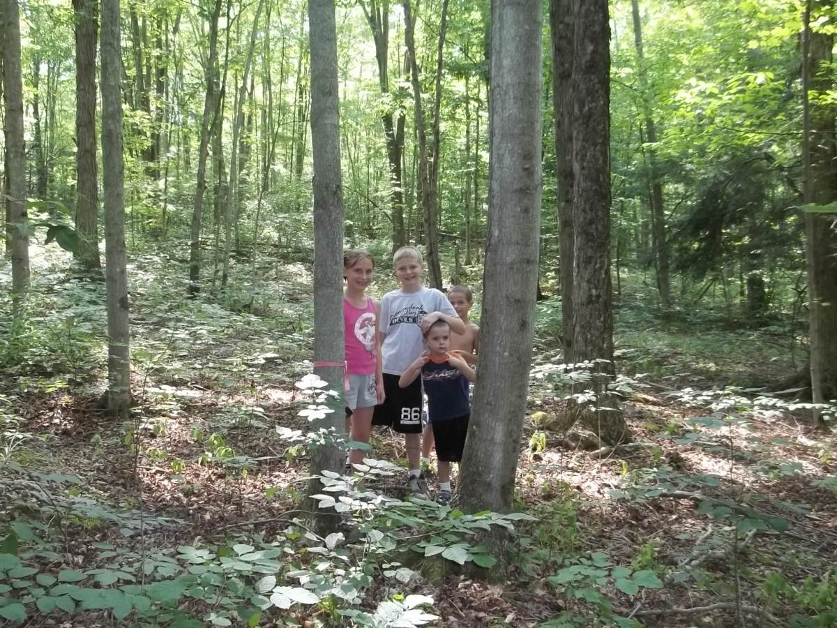 My family hiking to retrieve our Time Capsule from 2011.
