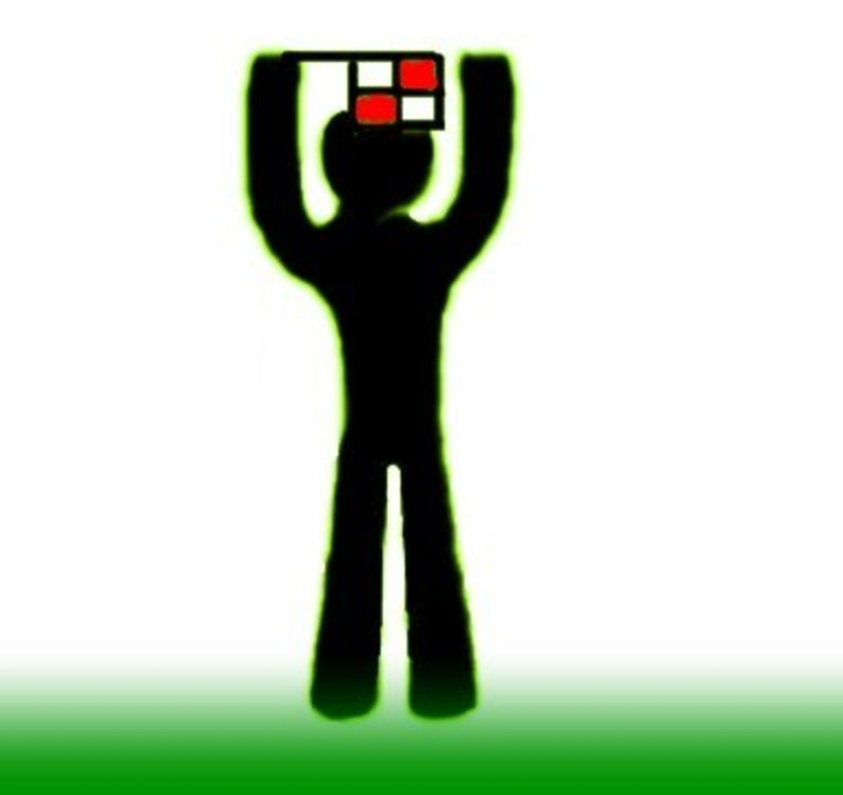 Raising Both Hands With Flag–Substitution
