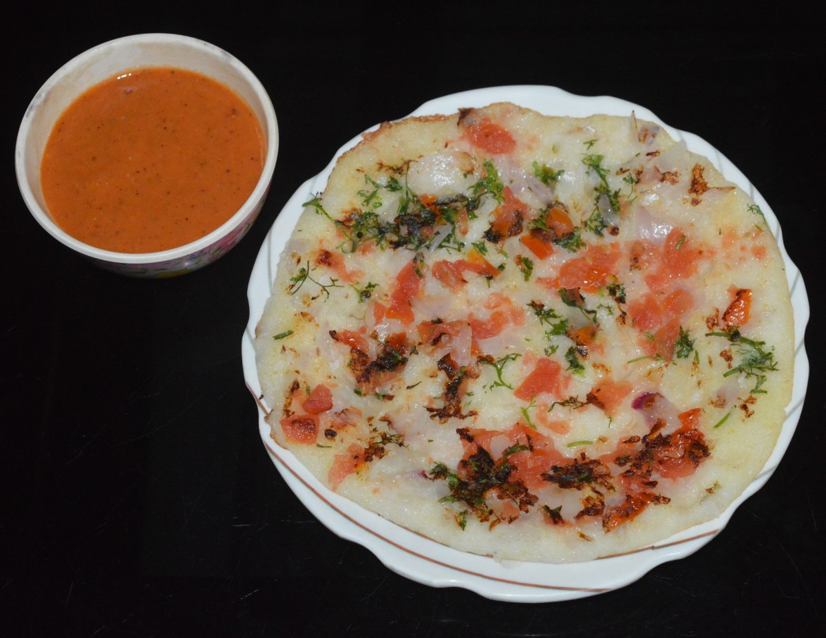 When both the sides are cooked and golden brown, remove the uttapam with a spatula and place it on a serving plate. Serve it hot with chutney. Enjoy!