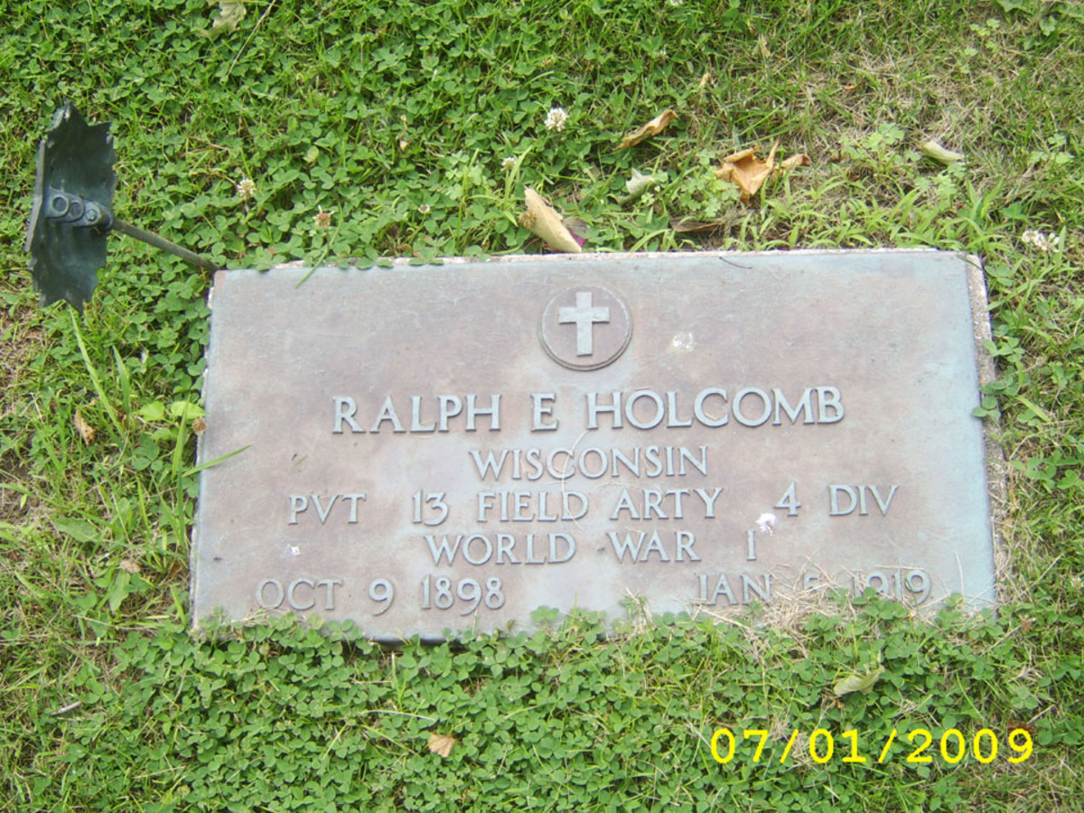 The Gravesite of Ralph Holcomb in Monroe, Wisconsin.