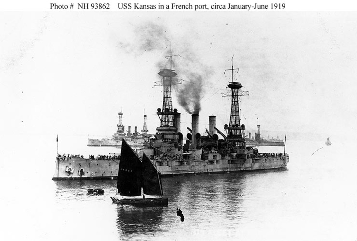 The battleship, USS Kansas, in a French Port, probably Brest, at the end of WWI. Ralph Holcomb would spend his last days on board this ship.