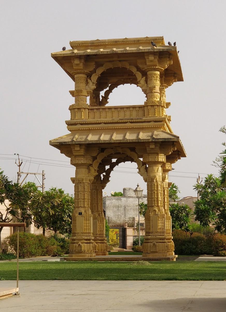 "Bindu Sarovar Museum : The replica of the ""Torana"" of Rudra Mahalaya temple"