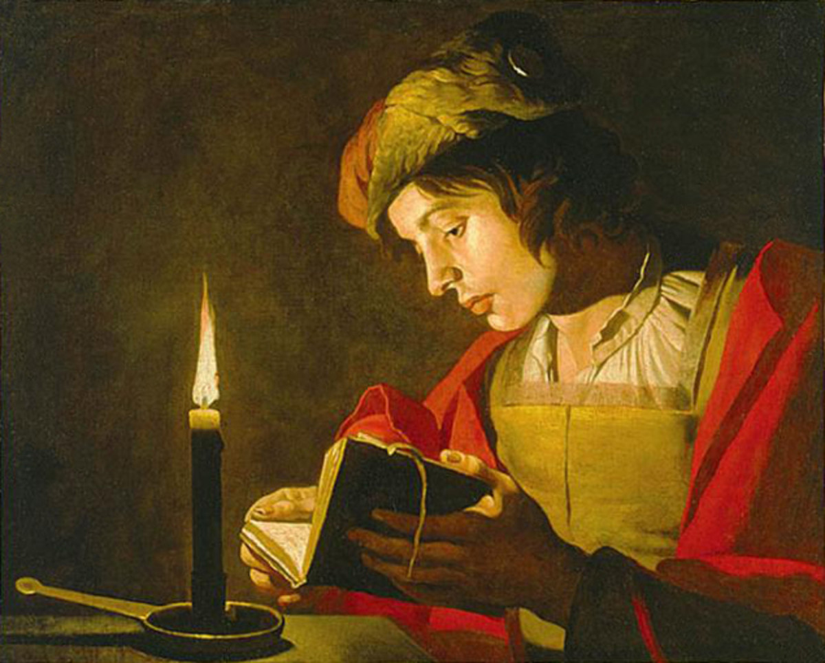 Matthias Stomer (1600 - 1650): Young Man Reading by Candlelight