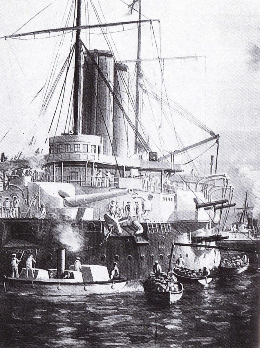 HMS St. George at Zanzibar Town, bristling with guns aimed at the sultan's palace.