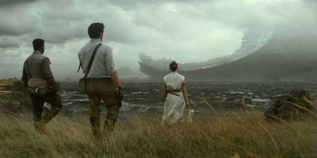 Rey, Finn, and Poe find remains of the Death Star II, which makes no sense at all, because it exploded into tiny, tiny pieces!
