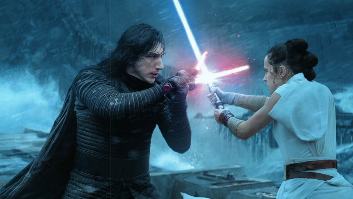 Rey and Kylo Rin in a lightsaber duel.