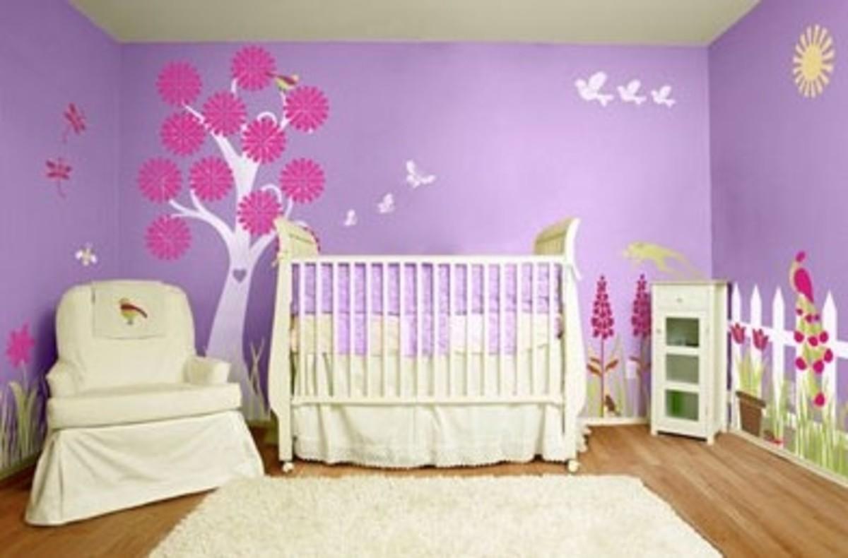 flowery wall stencil decal