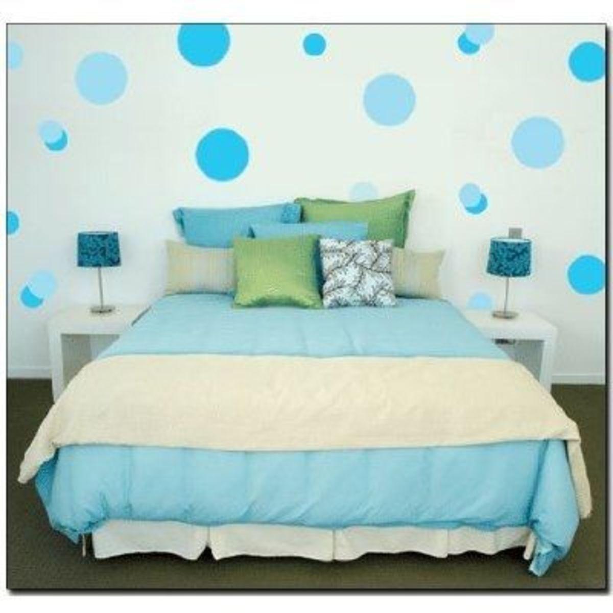 Blue Polka dot wall stencil