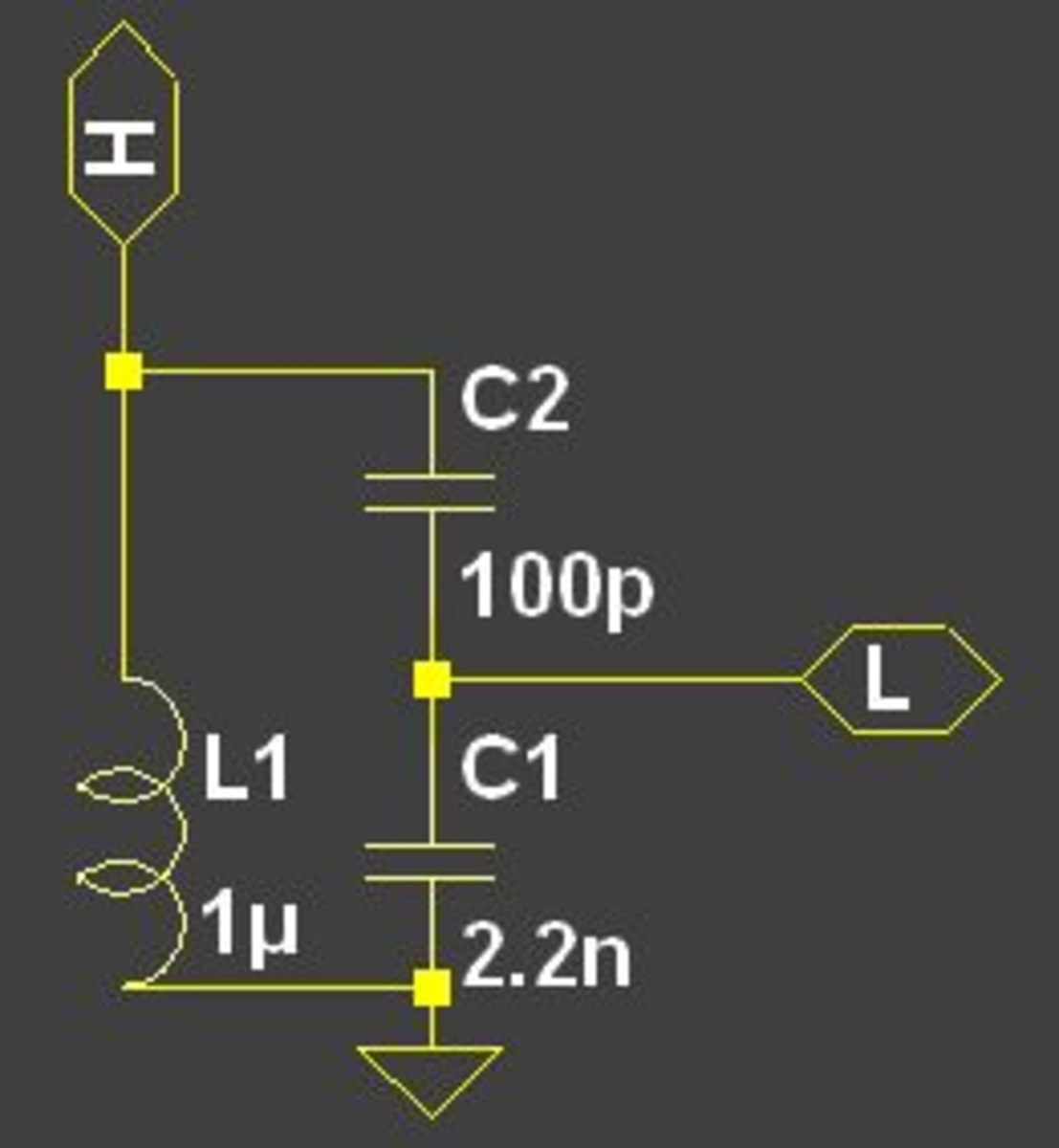 An LC resonant circuit with a capacitor divider.  The point L can be connected to a low impedance load such as a transistor base.