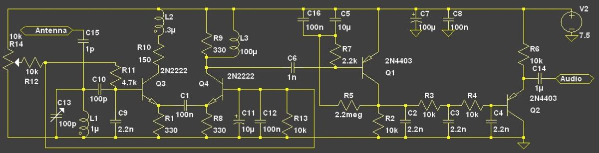 A practical regenerative radio circuit.  For maximum stability the emitter resistors in the differential pair can be increased to 2.2k.