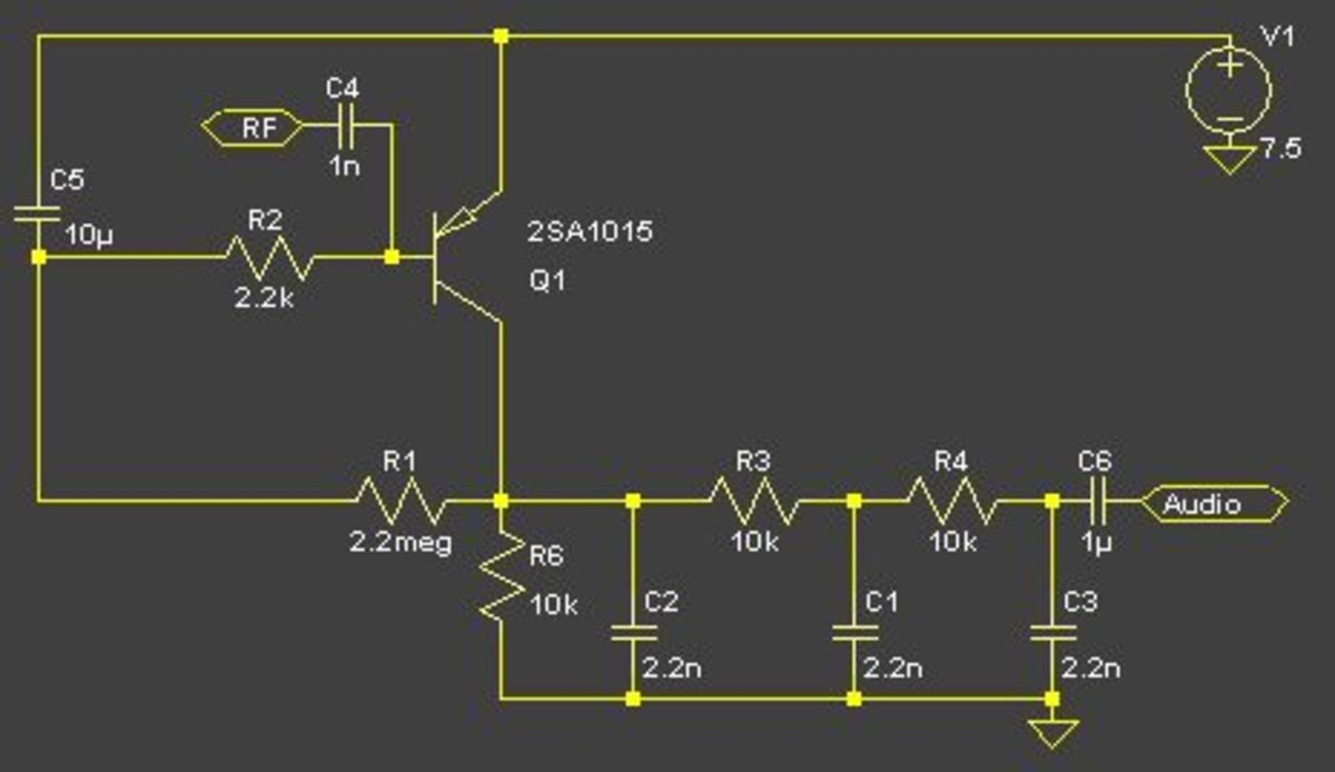 A transistor square law AM detector.  The non-linear characteristics of the detecting transistor make a sensitive AM detector. A 100nf capacitor should be connected in parallel with the 10uf capacitor (RF bypass).