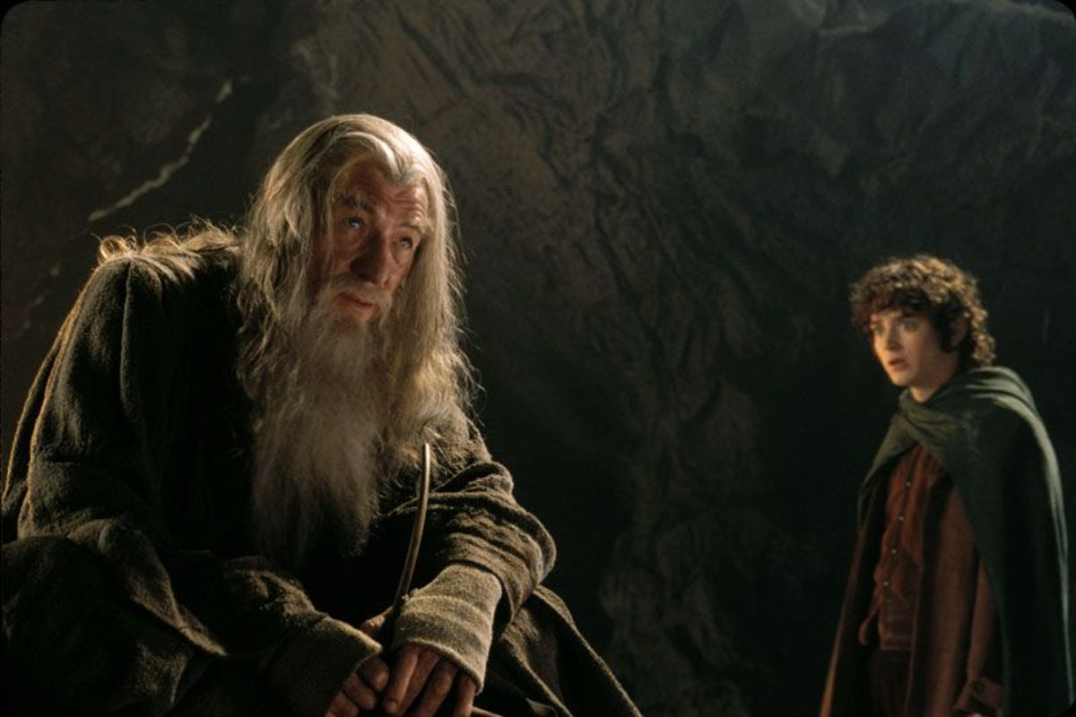 Courtesy of New Line Cinema.  Gandolf and Frodo in Moria.