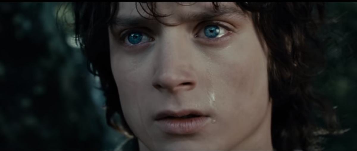 Courtesy of New Line Cinema.  After a moment of grief and self-doubt, Frodo chooses to press onward.  His later accomplishments would have meant nothing if not for this one choice.