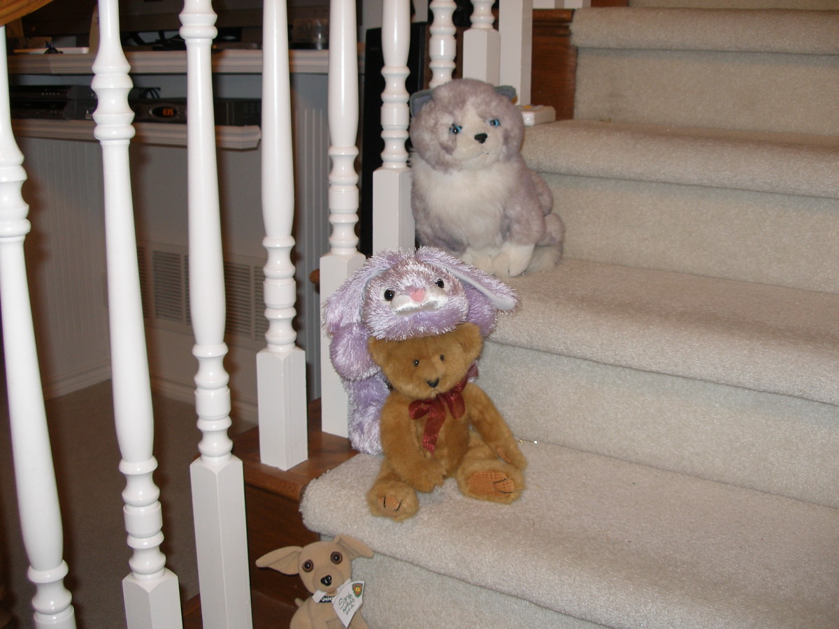 The Bunny on my stairs - and a Bear from one of my Beggin for Bear friends