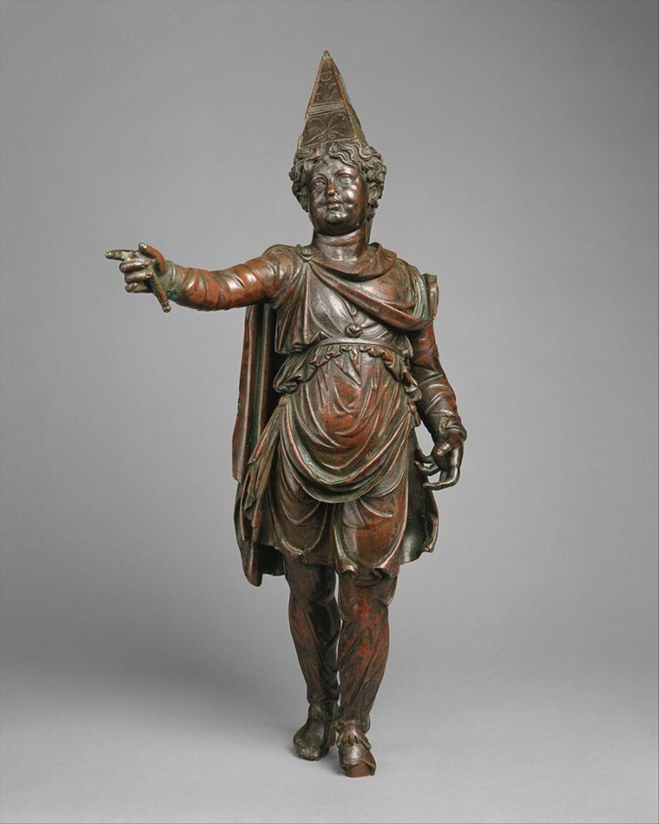 Statue of a boy in tiara and oriental dress; Bronzes. Recently identified as possibly being Alexander Helios, son of Cleopatra and Mark Antony.