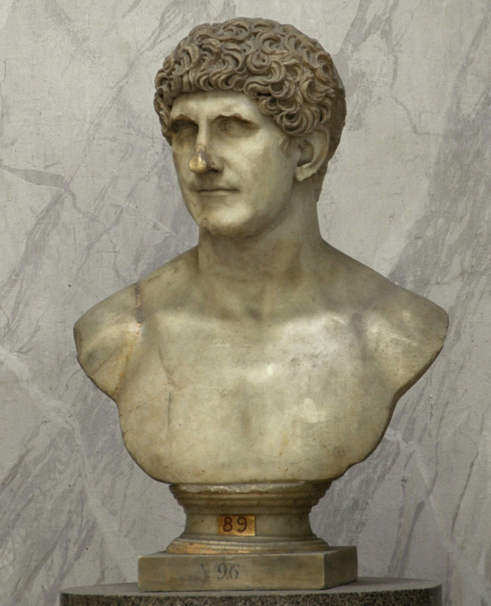 A Roman marble bust of the consul and triumvir Mark Antony, late 1st century AD, Vatican Museums