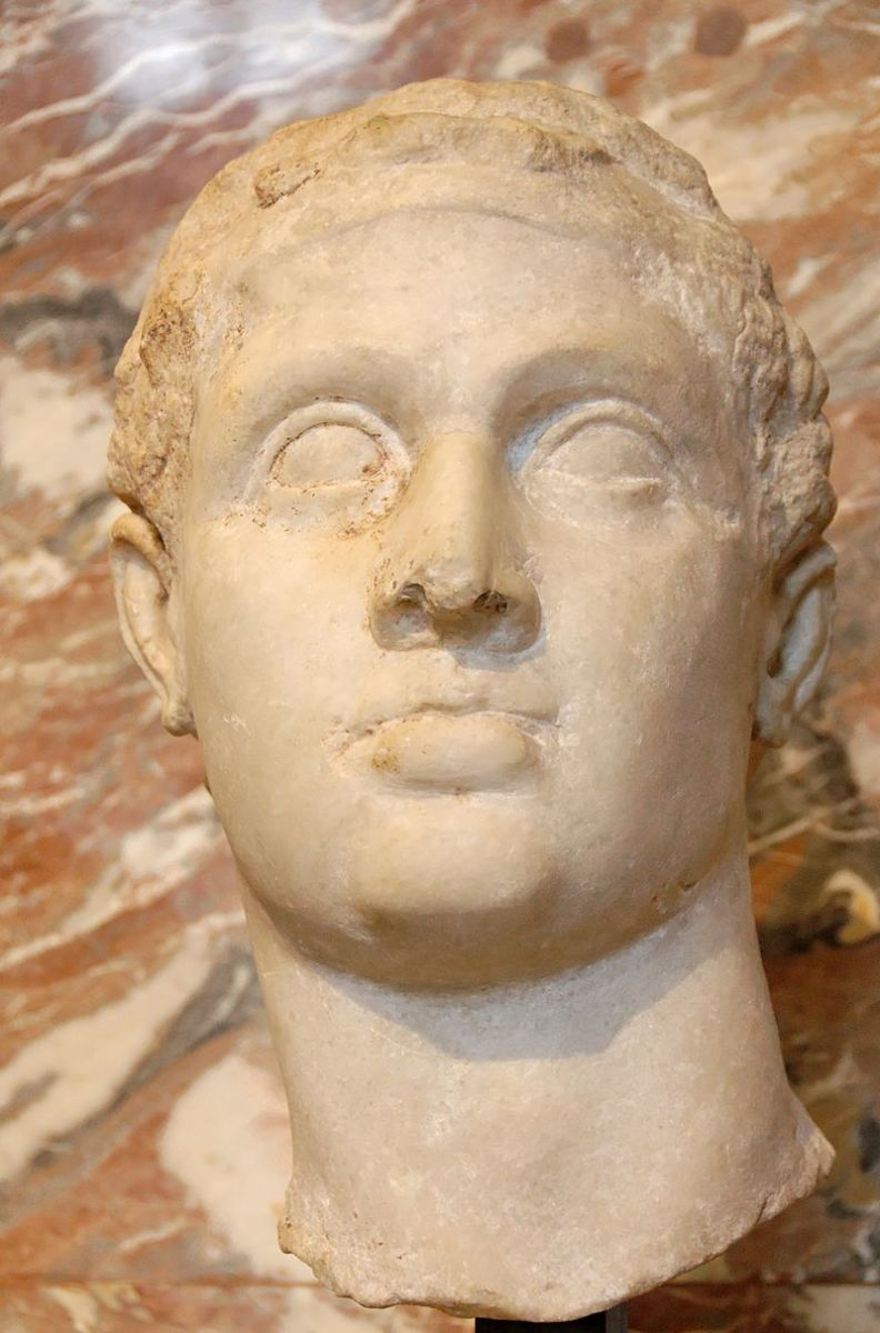 Hellenistic portrait of Ptolemy XII Auletes, the father of Cleopatra, located in the Louvre, Paris
