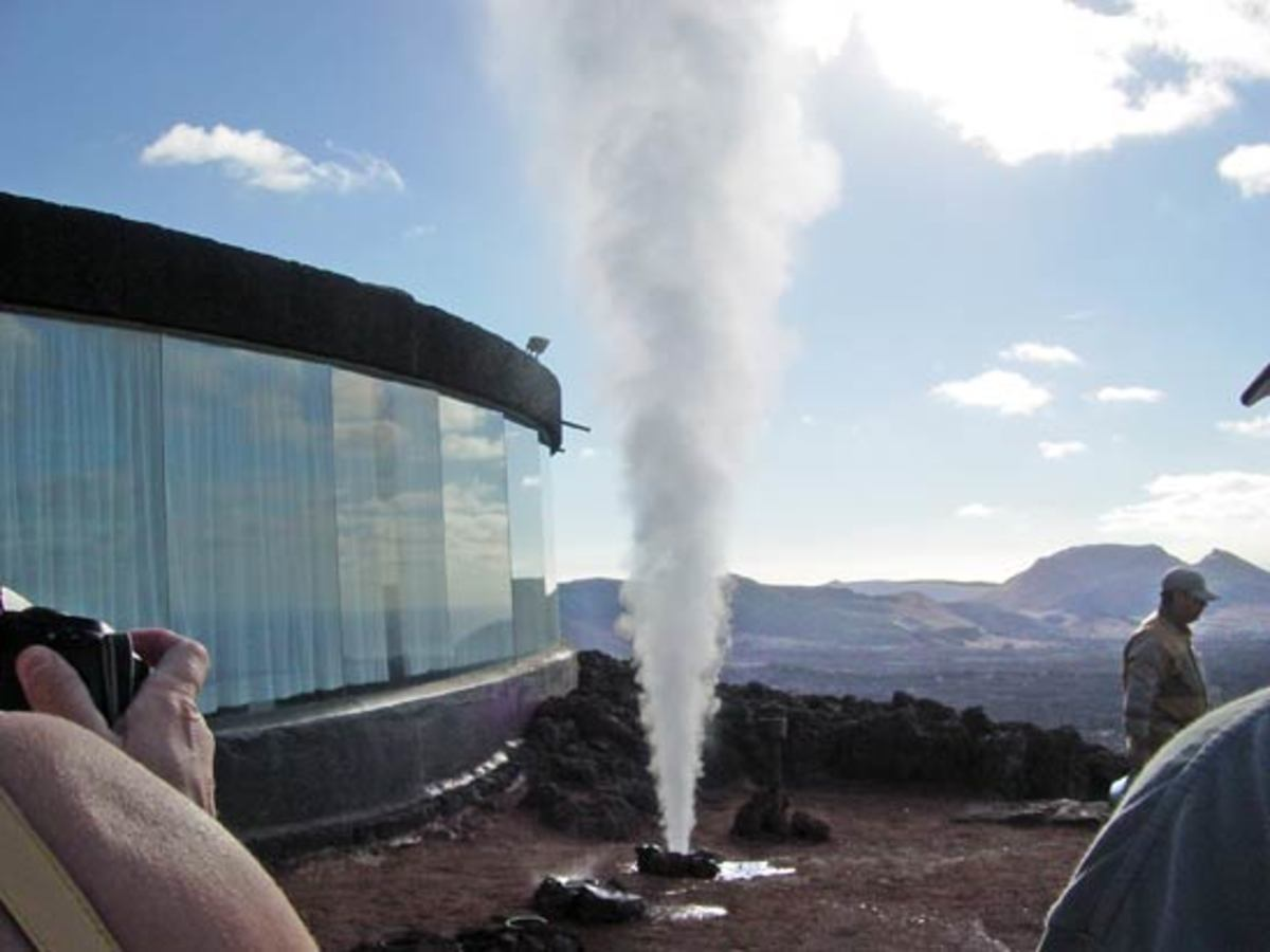 Geyser outside a building designed and constructed by Manrique.  This is at the top of the Timanfaya volcano in the National Park.