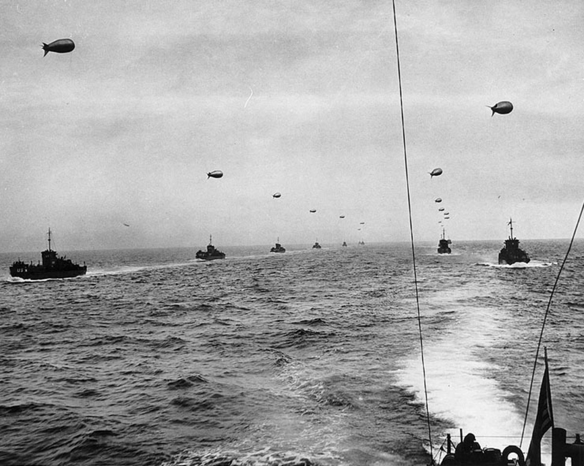 Large landing craft convoy crosses the English Channel on June 6,1944, filled with American and British troops destined for the beaches of Normandy.