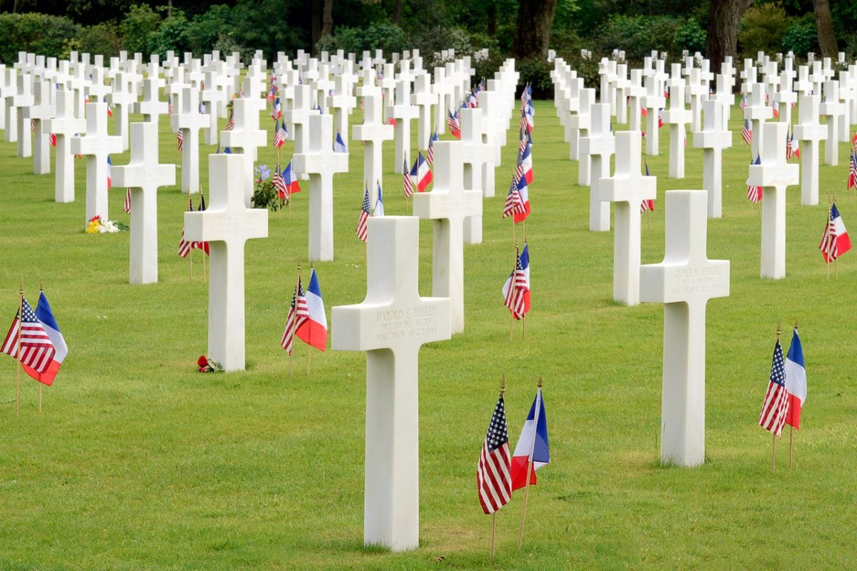 The Normandy American Cemetery and Memorial, overlooking Omaha Beach the bloodiest sector of the D-Day landings.