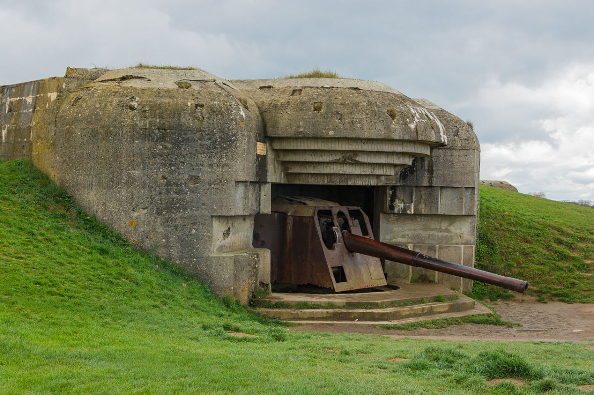 One of the casemates of the Longues-sur-Mer battery in Normandy, destroyed by naval gunfire during the Allied landings. Some Allied ships fired point blank at German defenses having a devastating effect on German soldiers.