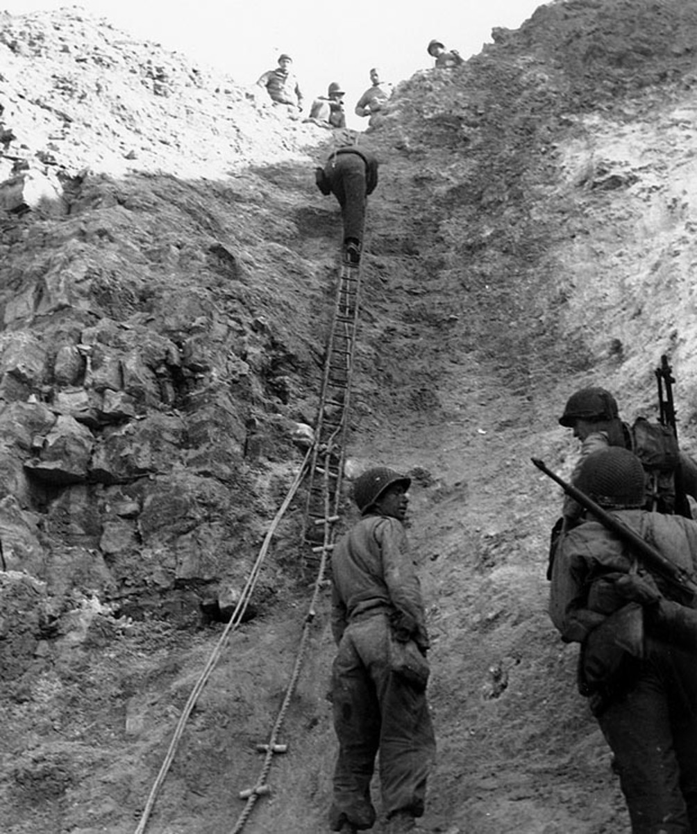 American Rangers scaling the wall at Pointe du Hoc an important first day objective of D-Day.