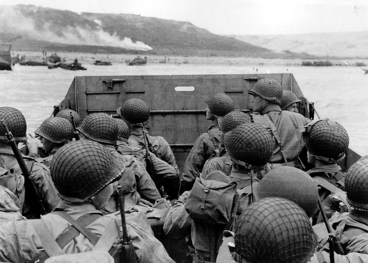 American assault troops in an LCVP landing craft approach Omaha Beach, June 6, 1944. More than two-thirds of the first wave would die on the beach.
