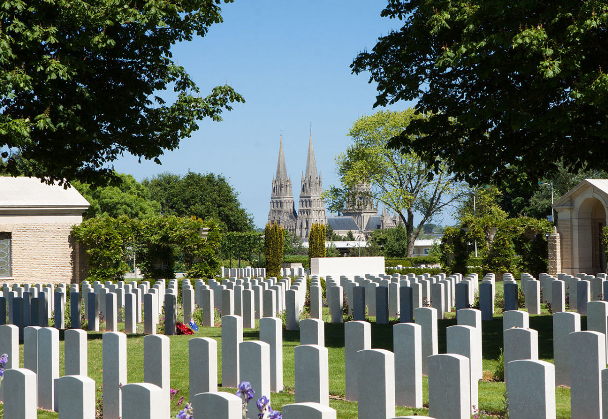 The Bayeux Commonwealth war cemetery the final resting place for the British soldiers who would die that day on the beaches of Normandy.
