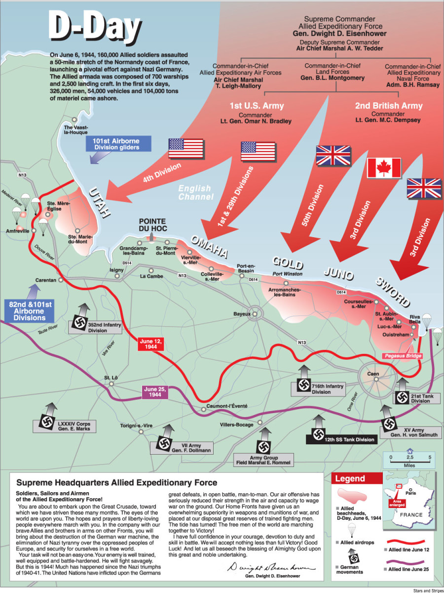 Complete Map of Commanders and Beaches  of D-Day June 6,1944.