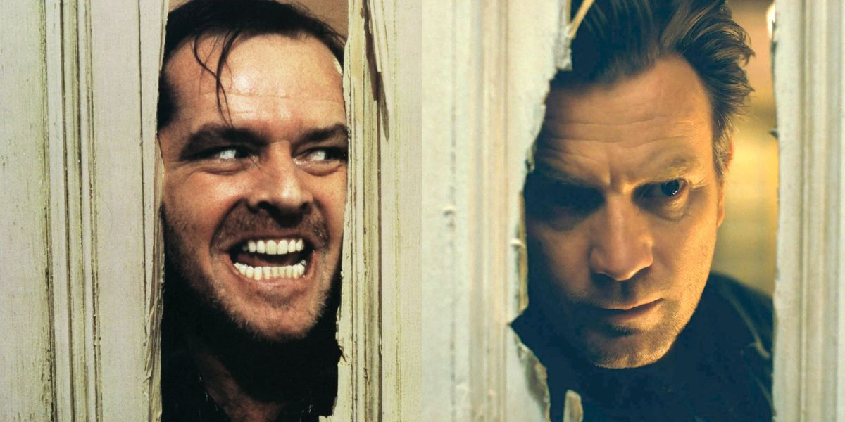 """One of the many """"The Shining"""" comparisons in the film. The infamous hole in the bathroom door that Jack Torrence left years ago, Danny peers through while walking through the haunted Overlook Hotel."""