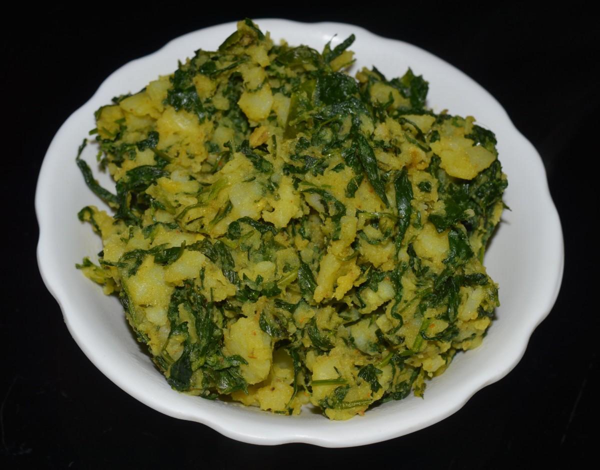 Potato and Fenugreek Leaf Dry Curry